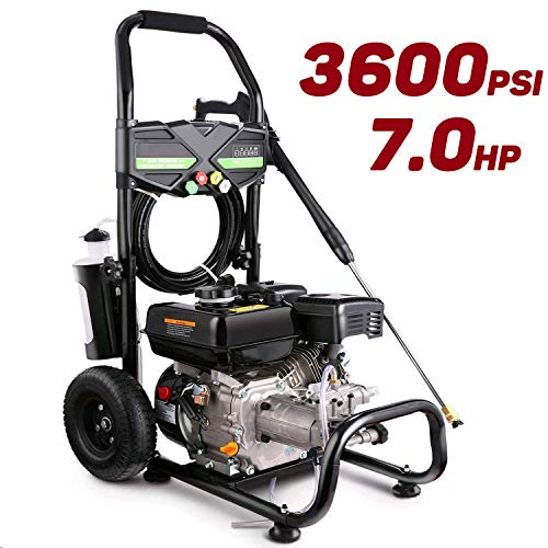 Pujua 3600PSI 2.8GPM Gas Pressure Washer Power Washer 212CC Gas Pressure Washer Powered, High-Pressure Hose 5 Nozzles (Black)