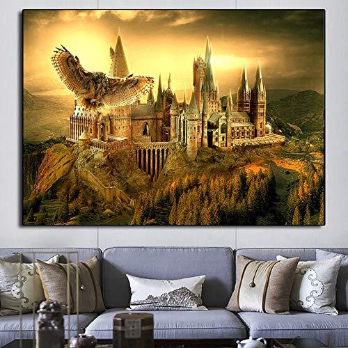 Magic World School Classic Castle Carteles de películas e Impresiones Pintura Lienzo Cuadros de Arte de Pared para decoración de habitación de niños 60x90 Sin Marco