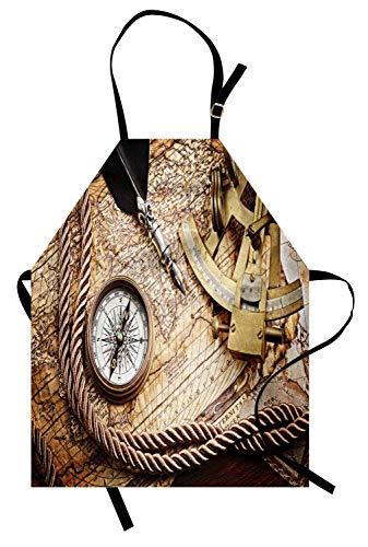 ABAKUHAUS Kompass Kochschürze, Vintage Navigation Voyage Thema Lifestyle Bild mit Sextant und Kompass Discovery Tools, Farbfest Höhenverstellbar Waschbar Klarer Digitaldruck, Creme