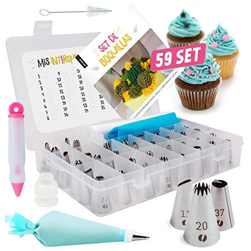 int!rend Maxi Set de boquillas - Conjunto de 59 Piezas | Decoración de Tartas y Pasteles, 42 boquillas y 2 adaptadores, 10 Mangas pasteleras Desechables, jeringa de Decoracion y más (Alemán)