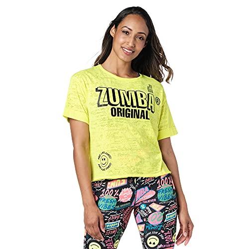 Zumba Camiseta deportiva de diseño gráfico para mujer - amarillo - Large