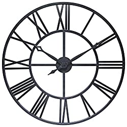 Infinity Instruments Antique Tower 30 inch Large Roman Numeral Wall Clock Indoor/Outdoor Patio Waterproof Oversized Decorative Contemporary Clock, 30-inch Diameter Roman Numerals (Antique Black)
