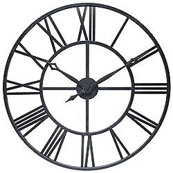 Antique Tower 30 inch Large Roman Numeral Wall Clock Indoor/Outdoor Patio Waterproof Oversized Decorative Contemporary Clock, 30-inch Diameter Roman Numerals (Antique Black)