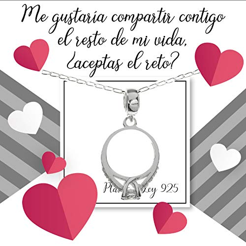 Collar charm anillo Solitario en Plata de Ley con...