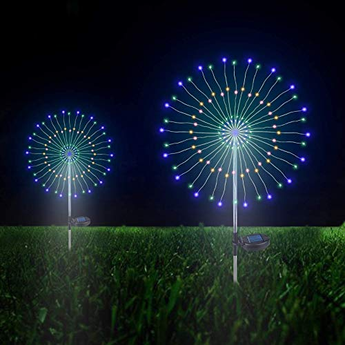 Outdoor Solar Garden Decorative Lights- 105 LED Powered 35 Copper Wires String Landscape Light-DIY Flowers Fireworks Trees for Walkway Patio Lawn Backyard,Party Decor 2 Pack, Forlivese (Multi -Color)