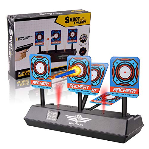 Beetest Diana Compatible para Nerf, Disparos automáticos Target de los niños Juguete con Pantalla LCD Efecto de Sonido con luz Inteligente Compatible para Balas de Nerf Soft Juegos