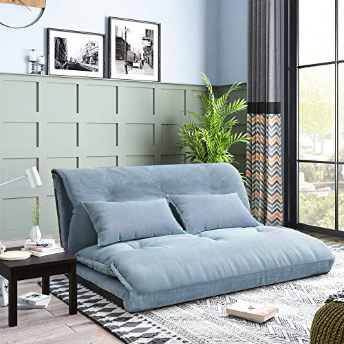 Floor Sofa Adjustable Lazy Sofa Bed, Foldable Mattress Futon Couch Bed with 2 Pollows (Blue)