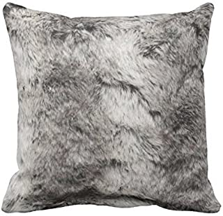 PocaBlife Faux Chinchilla Gray and White Fur Print Pillow Case 12