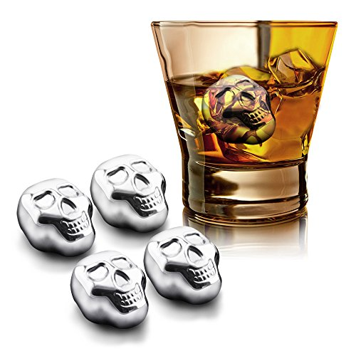 Supershop Skull Shaped Whiskey Stones,Chilling Reusable Ice Cubes for Whiskey,vodka,liqueurs,White wine,Beer,Coca Cola and more,Pack of 4 (Skull)