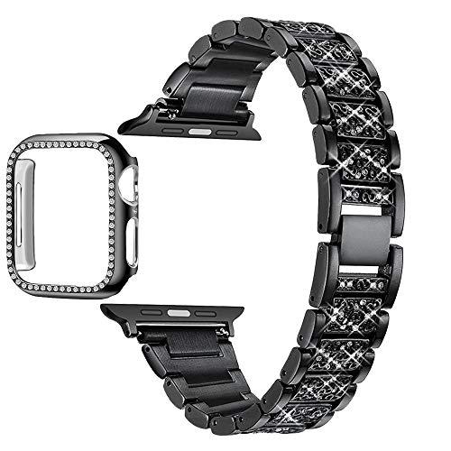 Correa Reloj Serie de la Banda del Reloj 6 5 4 3 2 1 Mujeres de la señora de Las Mujeres Correa para 6 44mm 40mm 42mm 38mm Pulsera de Acero Inoxidable 1 (Band Color : Black)