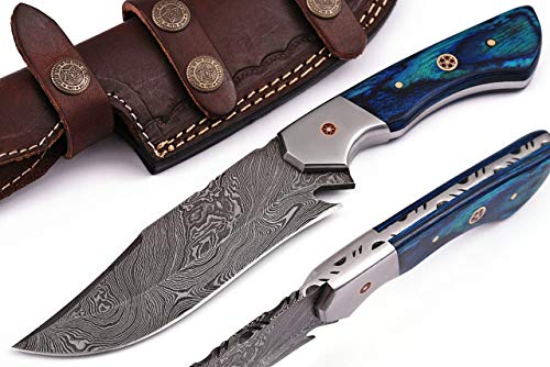Grace Knives Handmade Damascus Steel Hunting Knife Bowie Knife 9.5' with Leather Sheath G-1079 PW