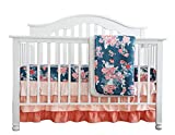 Coral Navy Floral Baby Crib Bedding Set Minky Blanket Crib Rail Cover Peach Navy Floral Girl Crib Set Floral Ruffled Crib Skirt (3 pcs Set)