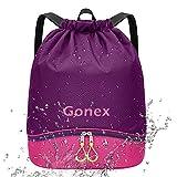 Gonex ジムサック プールバッグ 乾湿分離 軽量 防水 大容量 ナップサック スイムバッグ 運動 旅行 部活用 靴入れ 巾着 子供 男女兼用 (パープル)