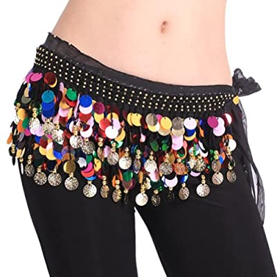 BellyLady Plus Size Belly Dance Hip Scarf With Paillettes, Christmas Gift Idea