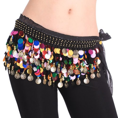 BellyLady Plus Size Belly Dance Hip Scarf With Paillettes, Christmas Gift Idea-S size