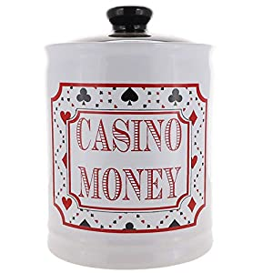 Cottage Creek Piggy Bank, Casino Money Coin Bank, Round Ceramic Slots Jar with Black Lid, Gambling and Vegas Money Bank [White] from Cottage Creek