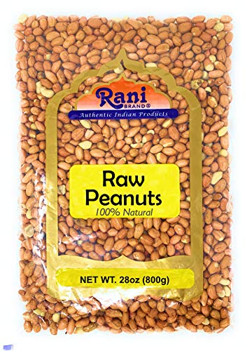 Rani Peanuts, Raw Whole With Skin (uncooked, unsalted) 28oz (800gm / 1.875lbs) ~ All Natural | Vegan | Gluten Free Ingredients | Fresh Product of USA ~ Spanish Grade Groundnut / Red-skin
