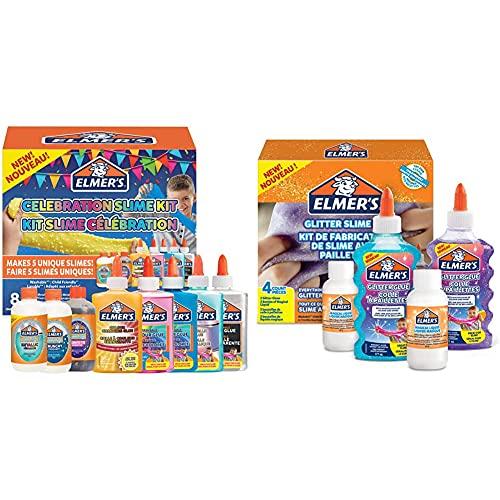 Elmer's Festtagsschleim-Set | Zubehör für Slime & Glitzer-Slime-Set | mit Glitzerkleber in Violett & Blau + 2Flaschen magischer Schleim-Aktivator-Lösung