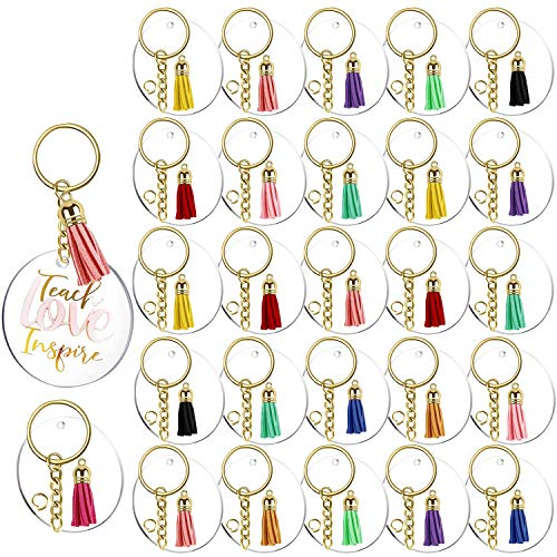 120 Pcs Acrylic Circle Keychain Blanks Tassels DIY Set | 30 Pcs 2 Inch Clear Acrylic Circle Blanks with Hole, Golden 30 Pcs Tassles and 30 Pcs Key Rings with Chain 30 Pcs Jump Rings, Perfect for DIY Keepsake, Monogram Keychains