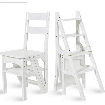 WCS Escalera multifunción doméstica Taburete de madera maciza IKEA niños silla plegable escalera de cuatro pasos de uso doble escalera ascendente Madera color 38 × 39 × 60cm (Color : White): Amazon.es: Bricolaje y herramientas