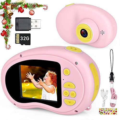 Myhappy Kinder Kamera, Digital Fotokamera für Mädchen Videokamera 2 Inch Bildschirm 1080P HD 32G Speicherkarte Geburtstag Weihnachten Geschenk, Rosa