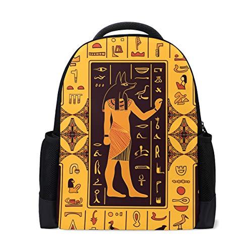 QMIN Mochila Antiguo Egipcio Jeroglíficos Librero Escolar Bolsa de Impresión de Un Lado de Viaje Universitario Senderismo Camping Bolsa de Hombro Organizador para Niños Niñas Mujeres Hombres