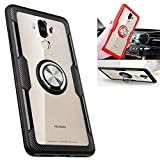 Huawei Mate 9 Transparent Case,360° Rotating Ring Kickstand Protective Case,TPU+PC Shock Absorption Double Protection Cover Compatible with [Magnetic Car Mount] for Huawei Mate 9 Case (Black/Silver)
