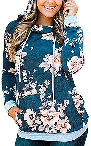 Ladyjiao Damen Kapuzenpullover Blumenmuster Langarm Sport Hoodie Casual Sweatshirt Pullover Tops Bluse Oberteile Farbblock Blumen Pulli Pullover, Blau, M