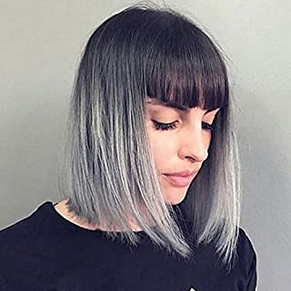 YOPO Grey Ombre Short Wig with Bangs - Silver Gray Ombre Wigs Dark Roots Bob Synthetic Hair Full Straight Wigs for Women with Free Wig Cap(Short Ombre Gray with Bangs)