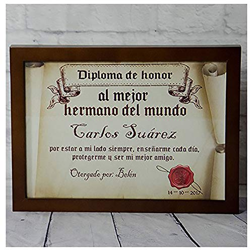 Calledelregalo Diplomas pergamino Personalizados para Todos los destinatarios (Al Mejor Hermano) con Marco