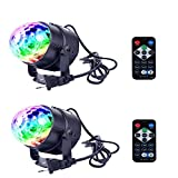 Ithonest Led Party Lights Disco Ball Strobe Light Disco Lights, RGB Strobe lamp Power 3W and 7 Modes Sound Activated Rotating with Remote Control Dj Lights,Stage Light for Festival Party/2 Pack