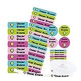 155 Etiquetas Personalizadas para ropa y objetos. 100 Etiquetas de tela para planchar en la ropa + 55 etiquetas adhesivas de diferentes tamaños para objetos. Nombre personalizado.