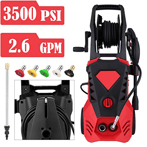 Save %6 Now! Power Washer 3500 PSI 2.6 GPM Electric Pressure Washer with Spray Gun, 5 Adjustable Noz...