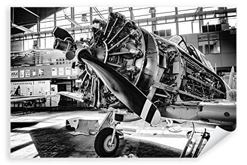 Postereck - Poster 2490 - Vintage Flugzeug, Propeller fliegen Halle Werkstatt Größe DIN - A4-21.0 cm x 29.7 cm