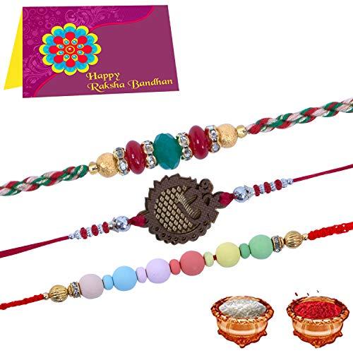 TONKWALAS Rakhi multicolor para Bhai con tarjeta de felicitación, Roli Chawal (Combo de 3)