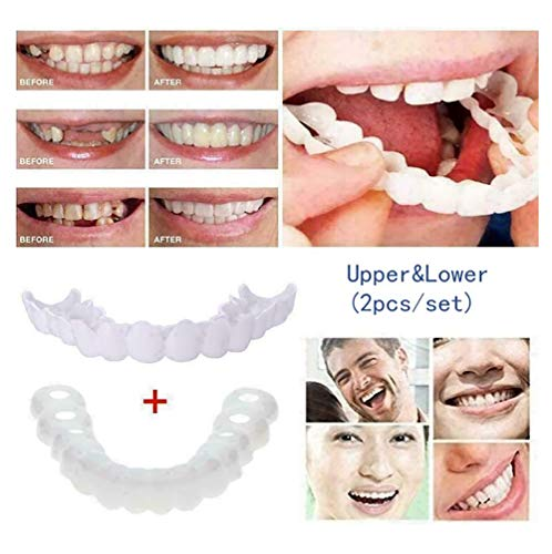 Z10LONG 2ST Cosmetic Zähne Gebiss Veneers Zähne Comfort Fit Flex kosmetische Zähne Temporary Lächeln Comfort Fit Top Zahnverblendung und am Boden Veneer Zahnverblendung