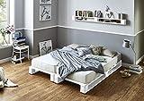 Somier & Cama de palets Blancos - Somieres de pallets juveniles para colchón de 160 x 170, 180, 190, 200 blanca & Cabecero & Cabezal