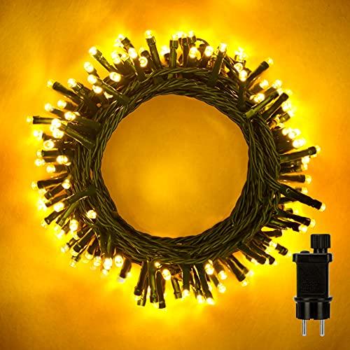LED Lichterkette Außen, 16M 320 LEDs Cluster Weihnachtsbeleuchtung mit 8 modis, IP44 Wasserdicht Lichterketten Strom Innen für Weihnachtsbaum, Balkon, Garten, Hochzeit Deko, Warmweiß
