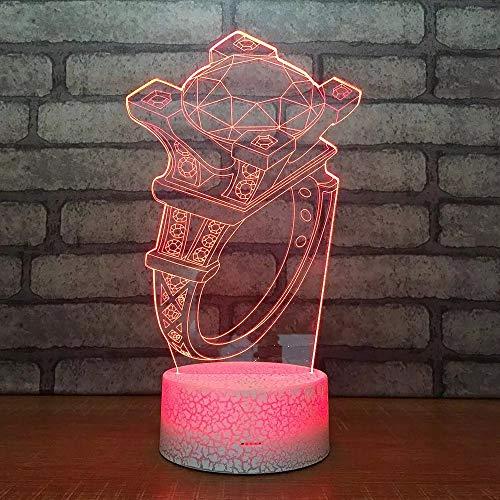 Cool ring acrílico multicolor luz creativa pequeña lámpara de mesa luz de noche led luz visual 3D dormitorio, luz de decoración de habitación