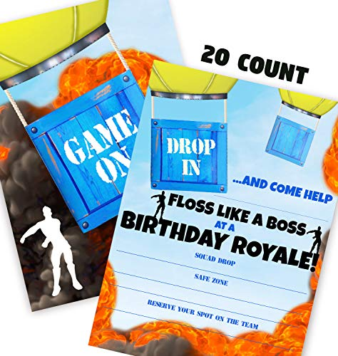 Gaming Battle Party Invitations - 20 Invitations + 20 Envelopes - DOUBLE SIDED - Video Game Invitations - Game Truck Party Supplies - Battle 20ct