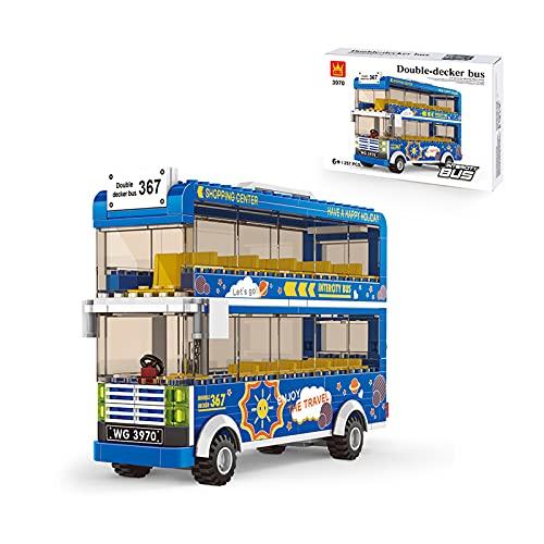 WANZPITS Kit De Construcción De La Serie De Autobuses De La Ciudad; Bloques De Construcción De Juguetes De Autobuses Simulados para 6 Años De Edad, Regalos De Cumpleaños para Niños, Nuevo 2021,Azul