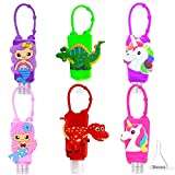 6PCS Kids Empty Hand Sanitizer Holder Keychain Carrier Travel Bottles, Leakproof Squeeze Container w/ Silicone Case Liquids Soap Lotion Refillable Portable Bottle (Mermaid Dino Unicorn)