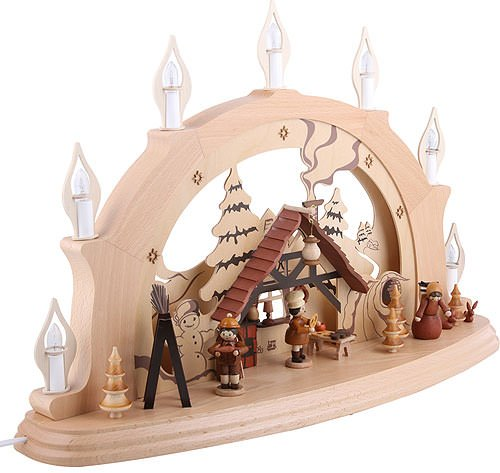 Authentic German Erzgebirge Handcraft Candle Arch Christmas Parlor - 57x38x15cm / 22x15x6 inch - Zeidler Holzkunst