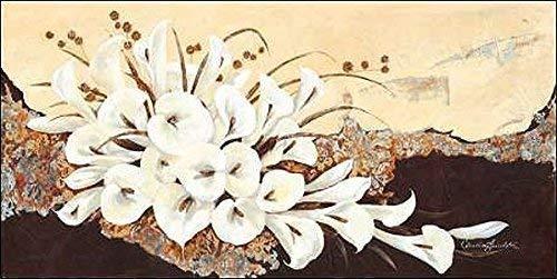Rahmen-Kunst Keilrahmen-Bild - Claudia Ancilotti: Arabesque Leinwandbild Stillleben modern floral Calla braun (35x70)