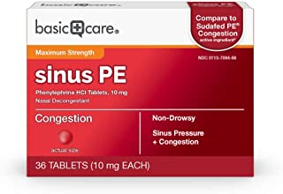 Amazon Basic Care Maximum Strength Nasal Decongestant PE, Phenylephrine HCl, 10 mg tablets. Nasal and Sinus Congestion, Si...