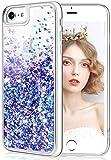 wlooo Handyhülle iPhone 8 Glitzer Hülle, iPhone 6s Hülle, Flüssig Treibsand Glitter Quicksand Gradient Weich Silikon TPU Bumper Original Schutzhülle Case für iPhone 6/6S/7/8 (Blau Lila)