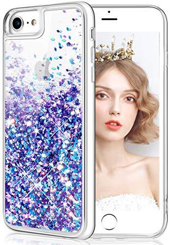 wlooo Cover per iPhone SE 2020, iPhone 6/6s/7/8 Cover, Glitter Bling Liquido Custodia Sparkly Luccichio Ragazze Donne TPU Silicone Protettivo Morbido Brillantini Quicksand Case (Blu Viola)