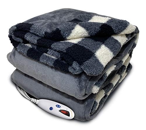 Biddeford Blankets Velour Sherpa Electric Heated Blanket with Digital Controller, Throw, Black/Cream Plaid Reversible to Grey