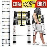 Best Attic Ladders - 12.5Ft/3.8M Folding Ladder - Aluminum Telescopic Extension Soft Review