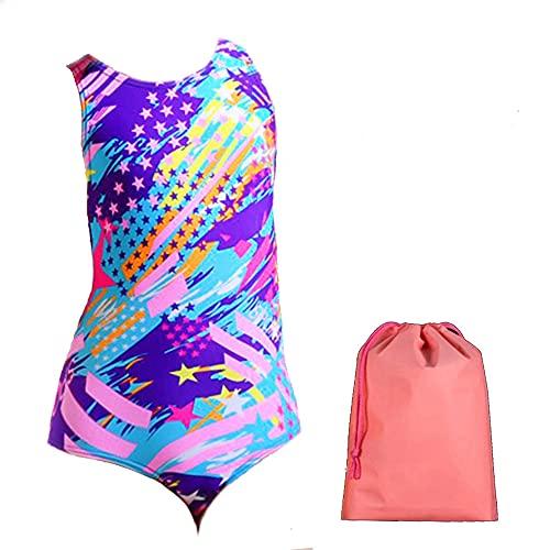 BRONG Costume da bagno da bambina, costume da bagno professionale da sirena per 4 – 13 anni, multicolore, 9-10 Anni
